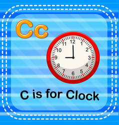 Flashcard letter c is for clock vector