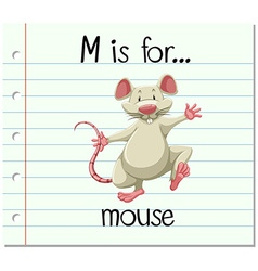 Flashcard letter M is for mouse vector