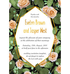 floral wedding invite card design with roses with vector image
