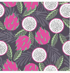 fruit seamless pattern dragon fruit vector image