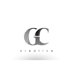gc logo design with multiple lines and black and vector image