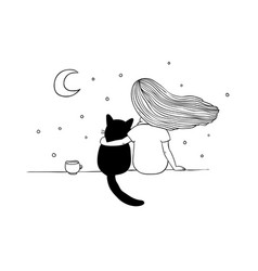 Girl and a cat on the roof vector