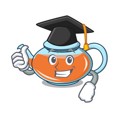 Graduation transparent teapot character cartoon vector