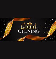 Grand opening card with golden ribbon background vector