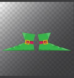 Green cartoon christmas elf shoes vector