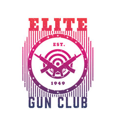 gun club emblem with automatic guns and target vector image