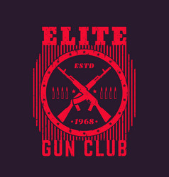 gun club vintage emblem with automatic rifles vector image