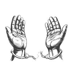 Hands break chain handcuffs a symbol vector