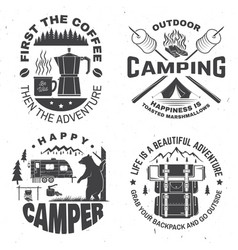 Happy camper concept for shirt or logo vector