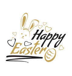 happy easter greeting inscription with cute vector image