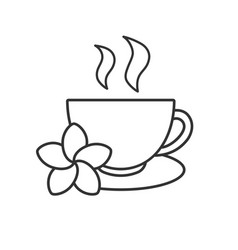 Herbal teacup linear icon vector
