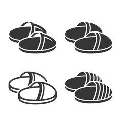 Home slippers icon set on white background vector