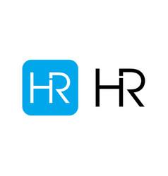 hr initials letter logo design template vector image