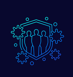 Immune system strong immunity line icon vector