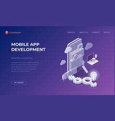 Landing page for mobile app development vector