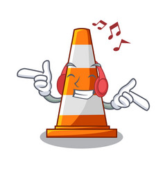 listening music the traffic cone with character vector image