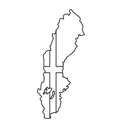 Map of Sweden icon outline style vector