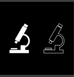 microscope icon set white color flat style simple vector image