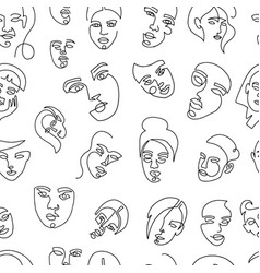 Modern abstract faces seamless pattern vector