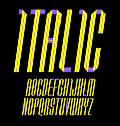 modern alphabet folded of paper tape italic font vector image