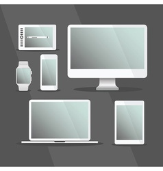 Modern Digital Devices set with white frames vector image