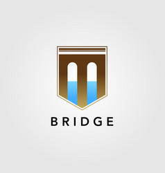 modern shield guard bridge logo icon design vector image