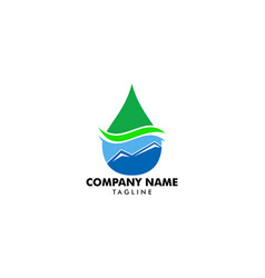 Natural mountain spring water logo design vector
