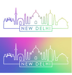 new delhi skyline colorful linear style editable vector image