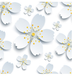 Oriental seamless pattern with white sakura flower vector