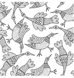 pattern with birds in indian traditional gong vector image