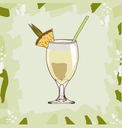 pina colada cocktail alcoholic bar drink hand vector image