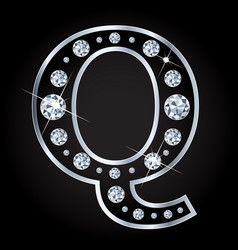 q letter made with diamonds isolated on vector image