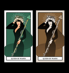 Queen wands with flowers crown holding a rod vector
