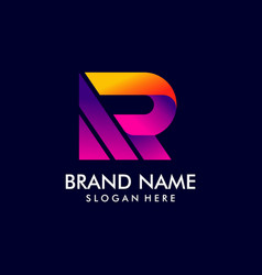 R letter logo initial logo with gradient style vector