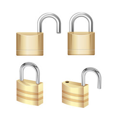 realistic padlock closed lock security icon vector image
