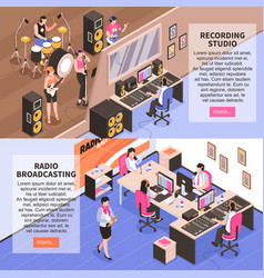 recording studio and radio broadcasting vector image
