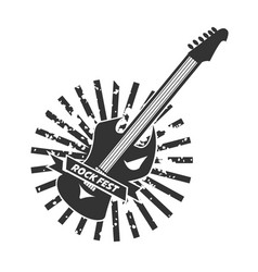 Rock fest logotype with colorless guitar on white vector