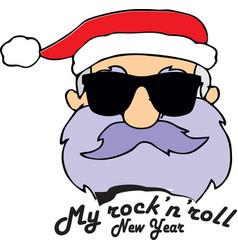 rock-n-roll new years santa claus vector image