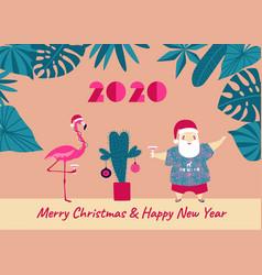santa claus and pink flamingo drinking margarita vector image