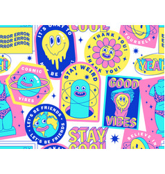 Seamless pattern with funny stickers cartoon vector