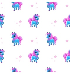 Seamless pattern with little cartoon blue pony vector image vector image