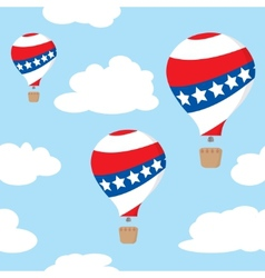 seamless pattern with patriotic hot air balloons vector image