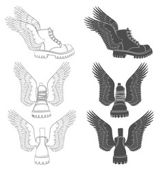 set boots with wings vector image