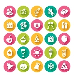 Set of 25 flat icons vector