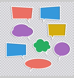 set of paper color speech bubble icons with vector image