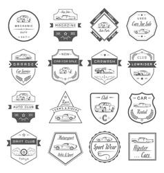 Set vintage car badges and sign vector