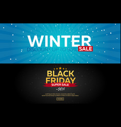 set winter sale posters black friday vector image
