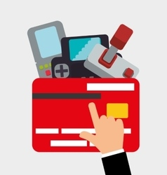 Shopping online game credit card console control vector