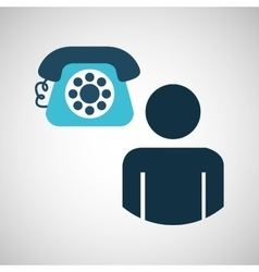 Silhouette blue man telephone call design icon vector