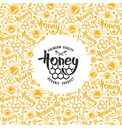 Stock honey frame and label vector